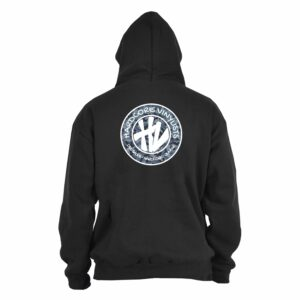 Hardcore Vinylists – Camo Small Front / Big Back Black Hoodie