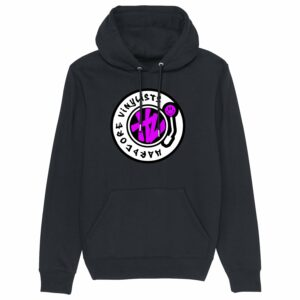 Hardcore Vinylists – Pink Big Front Logo – Black Hoodie