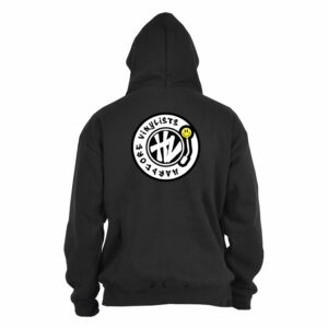 Hardcore Vinylists – Yellow Small Front / Big Back Black Hoodie