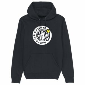 Hardcore Vinylists – Yellow Big Front Logo – Black Hoodie