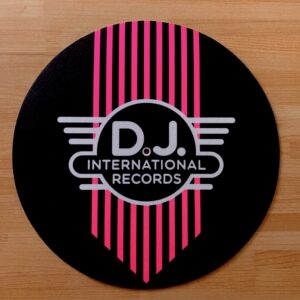 DJ International – Main Logo Fluorescent Pink Slipmats Inverted