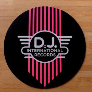 DJ International – Main Logo Fluorescent Pink Slipmats Inverted